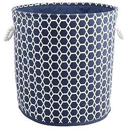 Dark Blue Round Hamper/Tote with Rope Handles, 27.5 x 11.81x 30.75 \