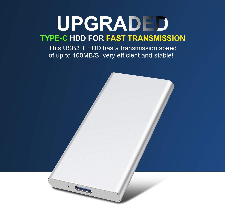 2tb, silver Mac Xbox 360 Prode 2TB External Hard Drive Portable Ultra Slim Type C USB 3.1 Hard Drive for PC