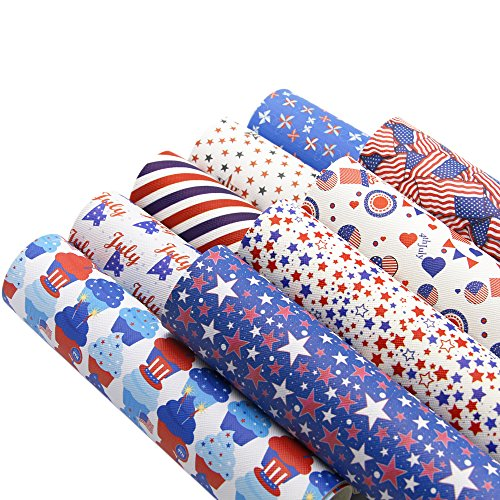 """Patriotic Synthetic Leather Fabric Fourth of July/Independence Day Flag Leather Sheets 9 pcs 8"""" x 13"""" (20cm x 34cm) Canvas Back Craft DIY Craft (Assort H)"""