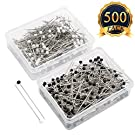 SUBANG 500 Pieces Sewing Pins 38mm Glass Ball Head Pins for Dressmaking Jewelry Components Flower Decoration,Black&White