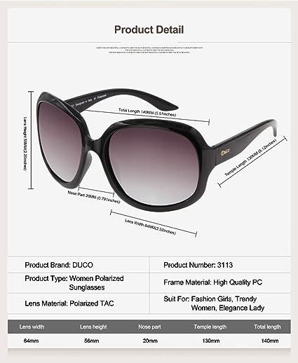 436869b36e Amazon.com  Duco Women s Oversized Polarized Sunglasses 100% UV Protection  3113 Black Frame Gray Lens  Clothing