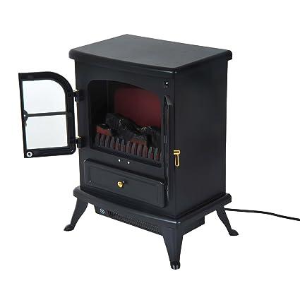 Homcom Caminetto Elettrico Da Terra Potenza 950w 1850w In Ferro E
