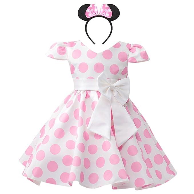 6c2532d889ad Costume da Principessa Minnie Polka Dots per Bimba con Vestito Lungo  Compleanno Ballerina Abiti Bambina Carnevale