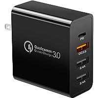 NIERBO Cargador USB C, 48W 4 Puertos de Carga Rápida PD Cargadores de Pared con QC3.0, Adaptador de Viaje para iPhone…