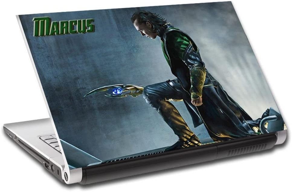 Loki Thor Villain Personalized LAPTOP Skin Decal Vinyl Sticker NAME Marvel L703, 17""
