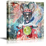 wall26 Square Dog Series Canvas Wall Art - Antique Style Painting of a Funny Dog Riding a Scooter - Giclee Print Gallery Wrap Modern Home Decor Ready to Hang - 16x16 inches