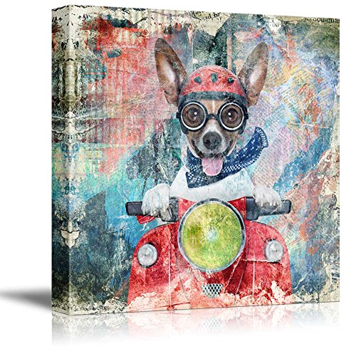 - wall26 Square Dog Series Canvas Wall Art - Antique Style Painting of a Funny Dog Riding a Scooter - Giclee Print Gallery Wrap Modern Home Decor Ready to Hang - 16x16 inches