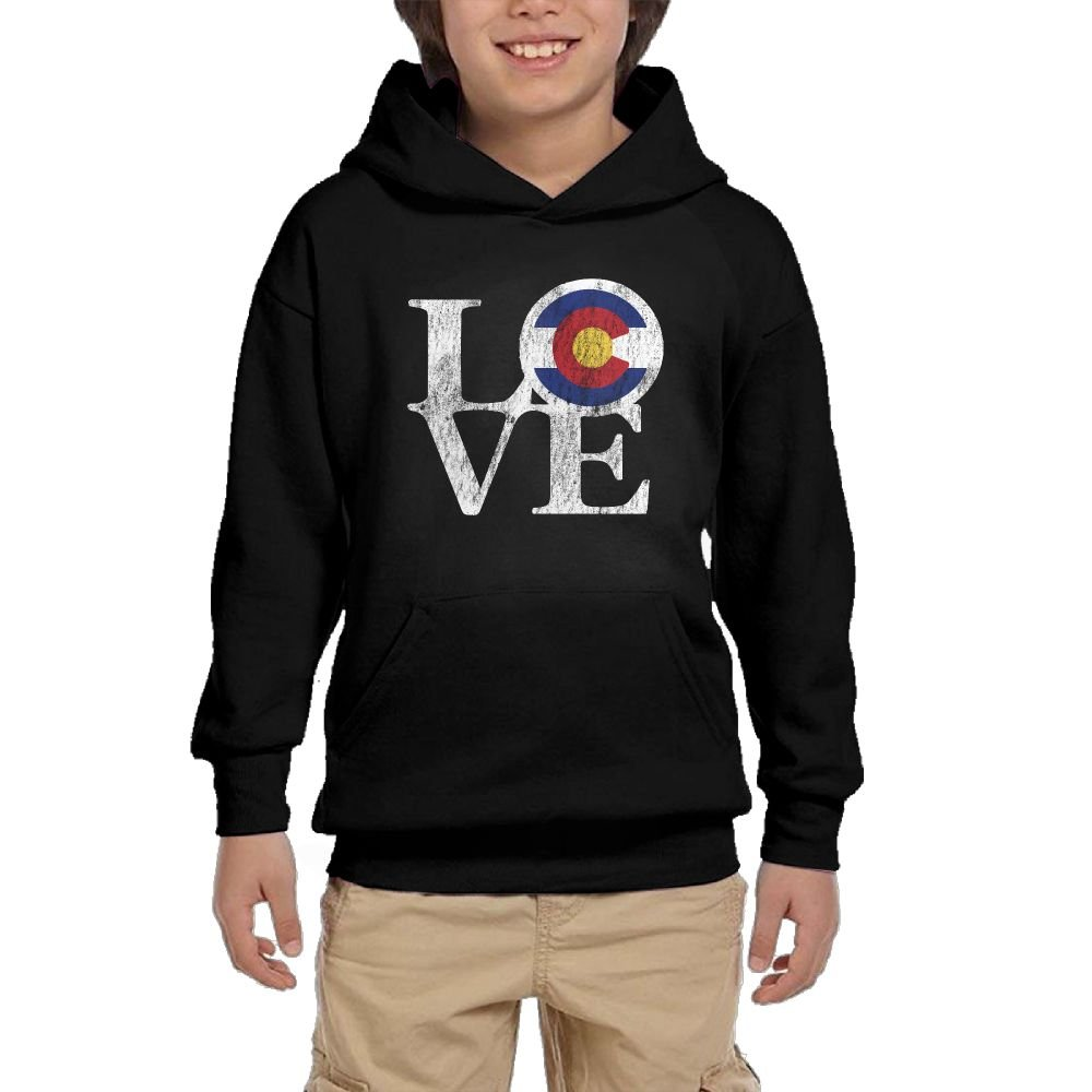 Youth Black Hoodie Love Colorado Vintage Hoody Pullover Sweatshirt Pocket Pullover For Girls Boys L by Hapli