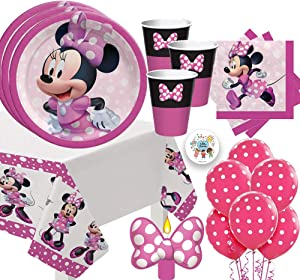 Minnie Mouse Forever Birthday Party Supplies Pack For 16 Guests With Minnie Mouse Plates, Cups, Beverage Napkins, Tablecover, Birthday Candle, and Exclusive Pin by Another Dream