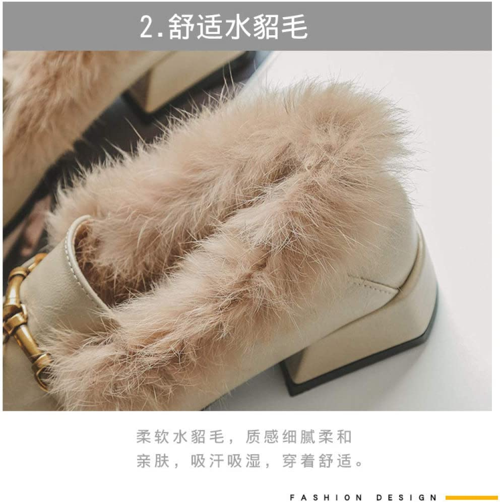 Ladies Muller Shoes Women,Apricot Leisure Deep Mouth Square Head Autumn Winter Wild Single Shoes Baotou Lazy Peas Shoes Muller Flat Heel Shoes Artificial Hair Low-Heeled Women Medium Thick Slippers