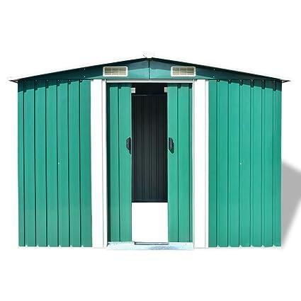 Festnight Cobertizos de Almacenamiento de Jardín Casa de Metal 257x205x178 cm Verde