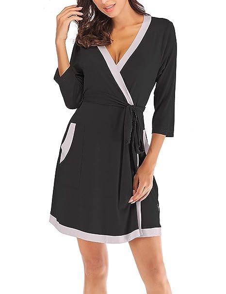 6b3ec49138 ZHENWEI Women s Soft Cotton Robes Lightweight Knee-Length Kimono Spa  Bathrobe Loungewear