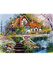 Cross Stitch Needle point Kits Stamped Cross Stitch Spring Garden Scenery 16X20 inch Pre-Printed Cross-Stitching Starter Patterns for Beginner Kids or Adults