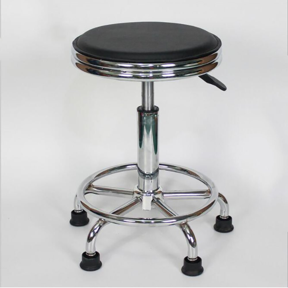 GAOJUAN Swivel Chair, Work Stool, Cash Register Bar Chair,Beauty Roller Stool, Height Adjustable 5 Castors Pvc Leather Chrome,Blackppnails