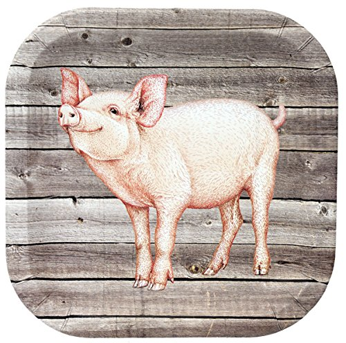 Club Pack Farm Table Piggy/Barnwood Printed 9in Square Paper Plate Box of 96 Printed Paper Plates -