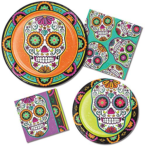 Sugar Skull Day of The Dead Party Supply Pack! Bundle Includes Paper Plates and Napkins for 8 Guests -