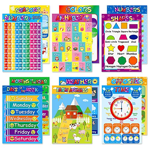 Educational Posters for Preschoolers Toddlers Kids Kindergarten Classrooms Alphabet Letters, Numbers, Shapes, Colors, Seasons, Week, Months, More,11 x 16 -