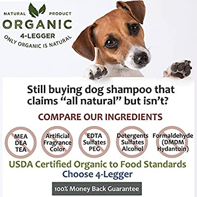 4-Legger Certified Organic All Natural Dog Shampoo Is Hypoallergenic with Aloe and Lemongrass - Maintains Beneficial Coat Oils for Normal or Dry and Itchy Skin - Made in USA - 1 - 16 oz bottle