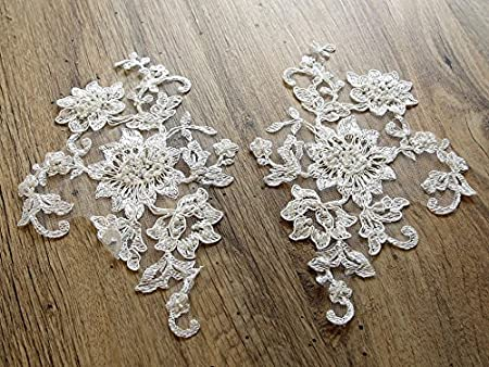 Zara beaded couture bridal lace appliques ivory per pack of