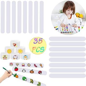 Joyibay 35PCS Slap Bracelet Blank White Slap Band Partido Pulsera Decorativa para niños DIY: Amazon.es: Juguetes y juegos