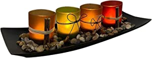 MagiDeal Home Decor Candle Holders Set, Tealight Candle Holder Centerpieces for Home Dining Room Coffee Table Decoration (Large Tray with 4 Candle Holders)