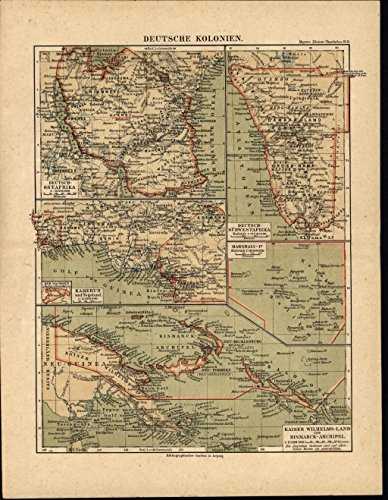 Best buy Germany Colonies Marshall Island Cameroon 1892 antique color lithograph map