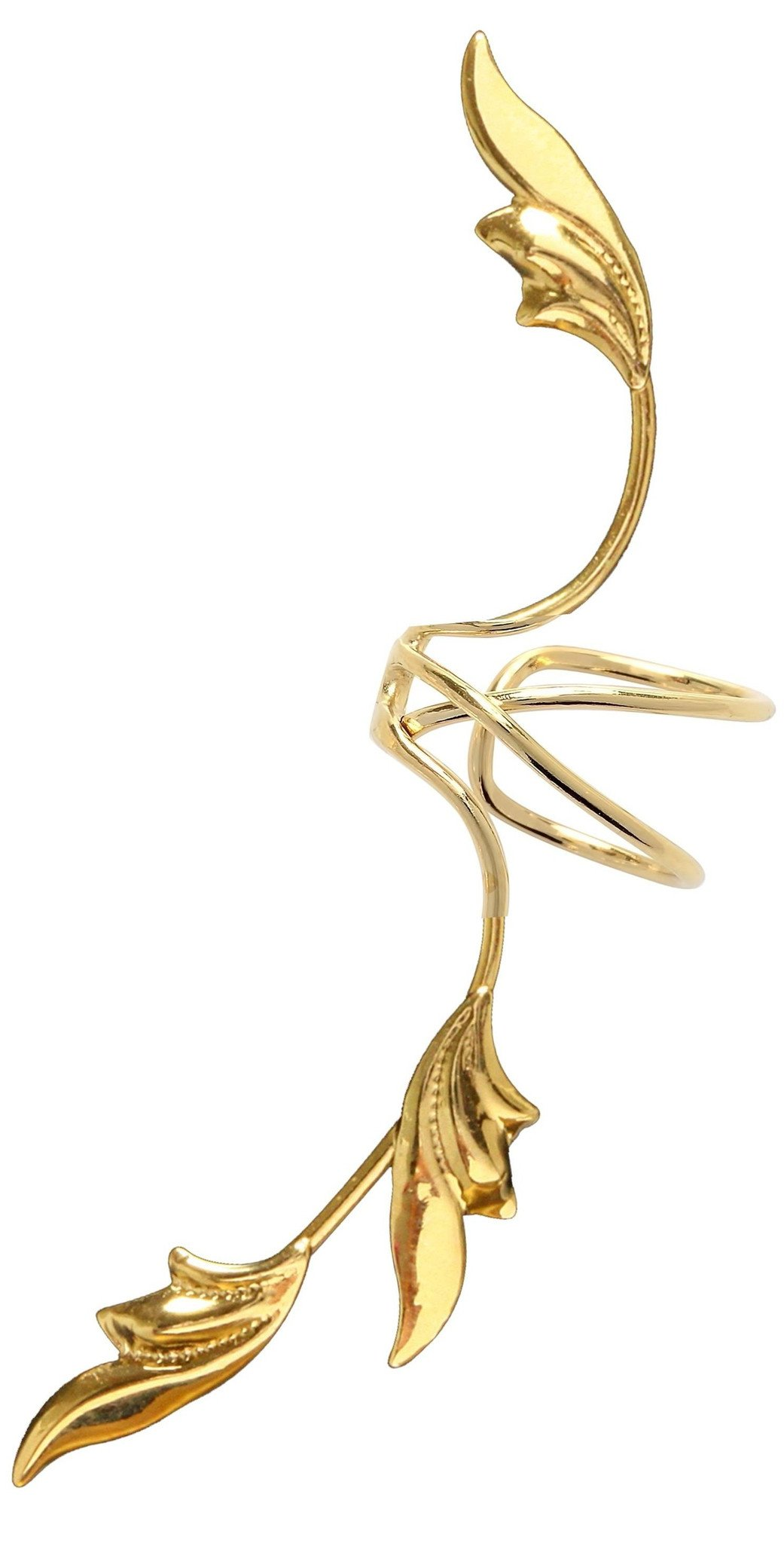 Delicate 3 Leaf Full Ear Spray Ear Cuff Non-pierced Cartilage Wrap Earring Single Left in Gold over Sterling Silver
