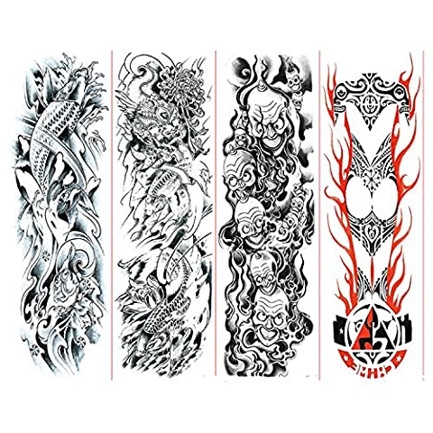 Globalwells 4 Sheets Fashion Extra Large Temporary Tattoos, Full Arm Paper Transfer Fake Tattoo (Set - 170 Mm Arm Set