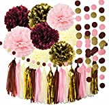 Bridal Shower Decorations 34pcs Qian's Party Burgundy Pink Glitter Gold Birthday Decorations Tissue Paper Pom Pom Tassel Garland Photo Backdrop Baby Shower Decorations/Bachelorett Party Decorations