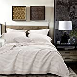 NTBAY 3 Layers Washed Cotton Woven Striped Jacquard Coverlet, Chair Cover, Throw Blankets for Bed Couch, Queen Size, Camel