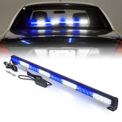 "Xprite 35.5"" White Mix Blue 32 LED Traffic Advisor Advising Emergency Vehicle Strobe Top Roof Light Bar w/ 13 Warning Flashing Modes for Trucks Cars: Automotive"