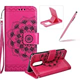 Rope Leather Case for LG K8 2017,Strap Wallet Case for LG K8 2017,Herzzer Bookstyle Classic Elegant Mandala Flower Pattern Stand Magnetic Smart Leather Case with Soft Inner for LG K8 2017 + 1 x Free Pink Cellphone Kickstand + 1 x Free Pink Stylus Pen - Hot Pink