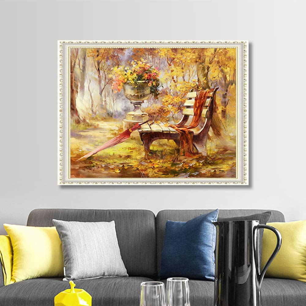 5D DIY Diamond Painting by Number Kit, Beautiful Autumn Forest Crystal Rhinestone Embroidery Cross Stitch Arts Craft Canvas Wall Decor Full Diamond (Autumn Color, 30X40CM)