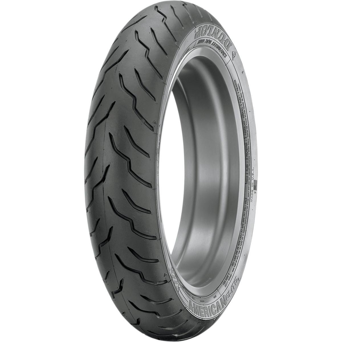 Dunlop Tires American Elite Front Tire - 100/90-19, Position: Front, Rim Size: 19, Tire Application: Touring, Tire Size: 100/90-19, Tire Type: Street, Load Rating: 57, Speed Rating: H, Tire Construc