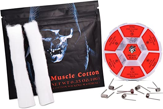 Demon Killer 10pcs Muscle Wick de algodón 24pcs Enrollador de níquel Vaping Tiras de algodón para