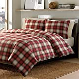 3 Piece Country Check Comforter Set Full/Queen, Traditional Classic Plaid, Pattern, Transitional Lodge Design, Casual Buffalo Checkered Themed, Vintage Reversible Bedding, Red, Off White Color Unisex