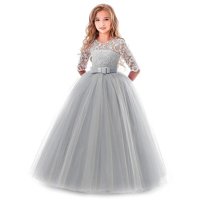 OBEEII Prinzessin Kleid Mädchen Abendkleid für Hochzeit Brautjungfer Blumenmädchen Geburtstag Party Jugendweihe Fasching Cock