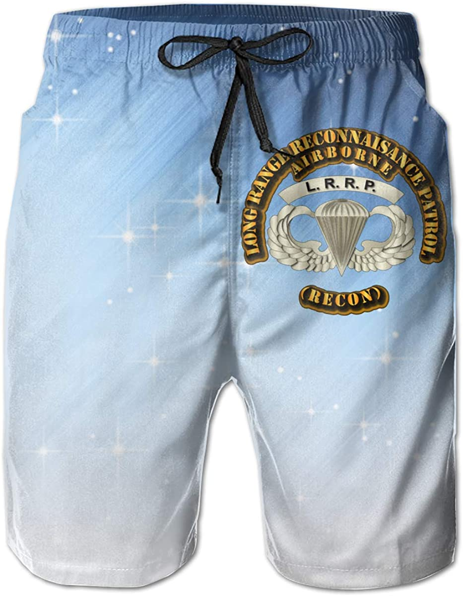 LRRP Mens Casual Classic Fit Short Summer Beach Shorts Airborne Badge