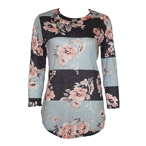 Blusas Otoño Mujeres - Camisetas Florales Shirts Impresión Camisetas Polka Dot Blusas 3/4 Mangas Tsh...