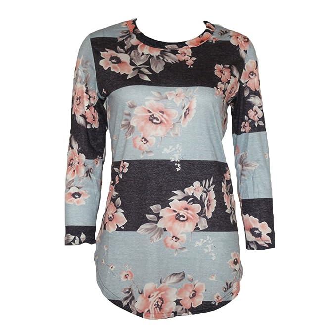 Blusas Mujer Otoño - Tshirts 3/4 Mangas Camisas Asimétricas Blusas Florales Tops Impresión Shirts