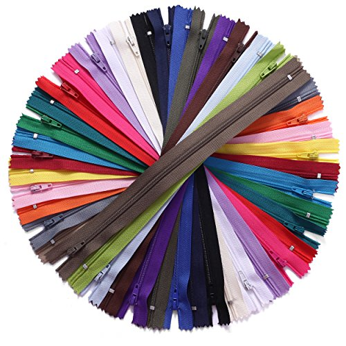 JIUZHU 50pcs 14 Inch (35cm) Zippers 14 Inches Nylon Coil Zipper Bulk for Sewing Crafts Tailor Bags 25 Colors