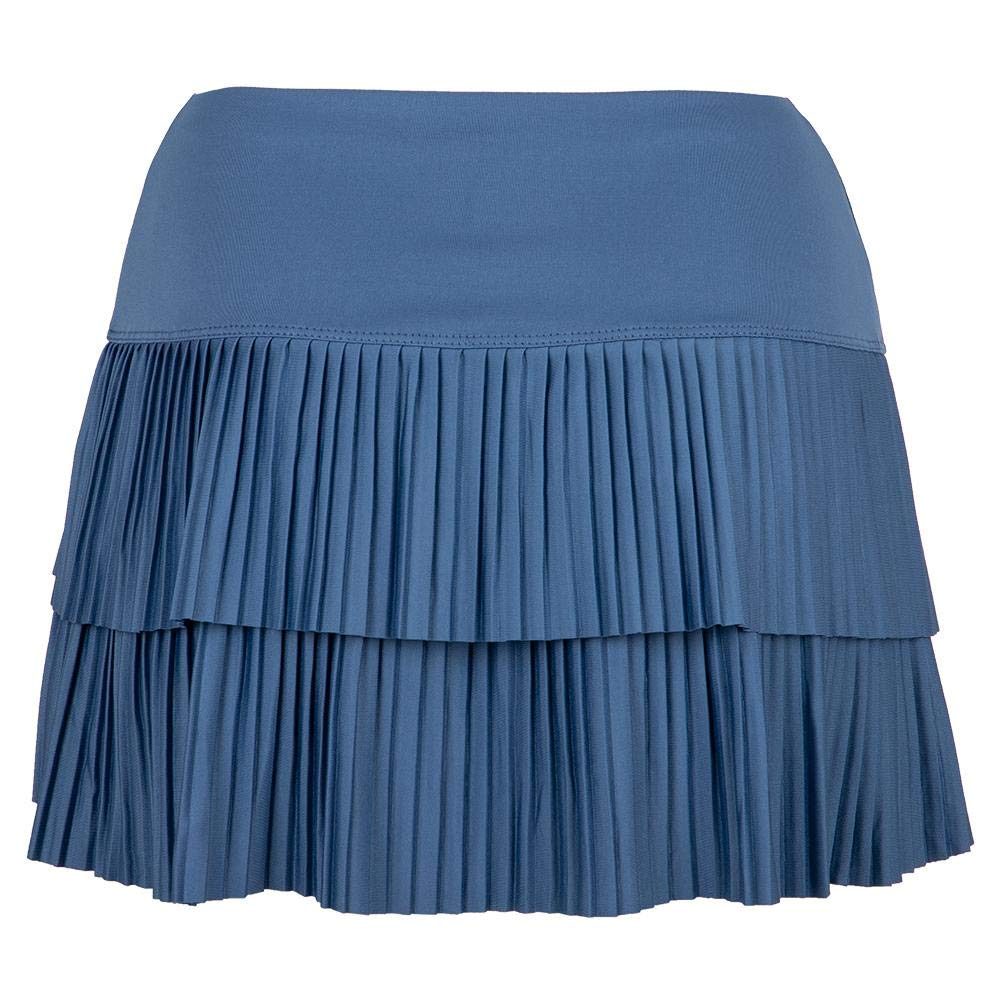 Lucky In Love Women`s Sunrise Pleated Tier Tennis Skort Steel Blue