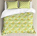 Ambesonne Yellow and White King Size Duvet Cover Set, Exotic Hibiscus and Plumeria Flower Composition Hawaii Plants, Decorative 3 Piece Bedding Set with 2 Pillow Shams, Amber Yellow Fern Green