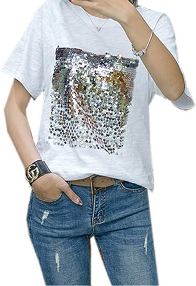Mujeres Camisetas Casual Cuello Redondo Manga Corta Tops Blusa T-Shirt Lentejuelas Costura tee Remata Camisas, Nuevo Verano: Amazon.es: Ropa y accesorios