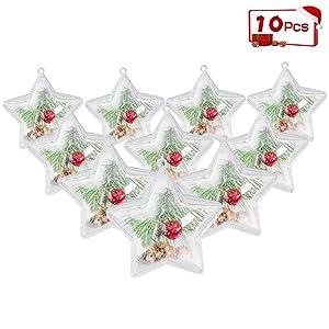 ShellKingdom Fillable Ornament Ball, Clear Transparent Ball & Plastic DIY Bauble Ball for Home/Wedding/Party/Tree/Craft/Christmas/Xmas Decoration/Soap Bath Bomb 10PCS(Star)