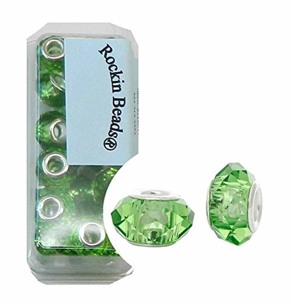 Rockin Beads Brand, 24 Medium Green Beads Faceted Glass Large 4.5-5mm Hole