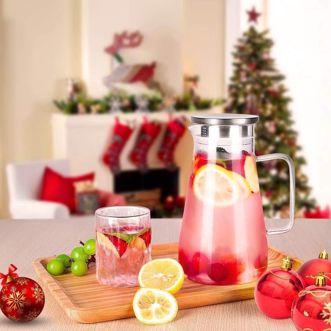 Hausgemachte Juice /& Eistee Pinsel Und Coaster Inklusive Borosilicatglas Pitcher For Warm//Kalt Wasser 2,6 Liter Wasserkaraffe Mit Easy Ausgusst/ülle Und Griff Glas Wasser-Krug Mit Deckel