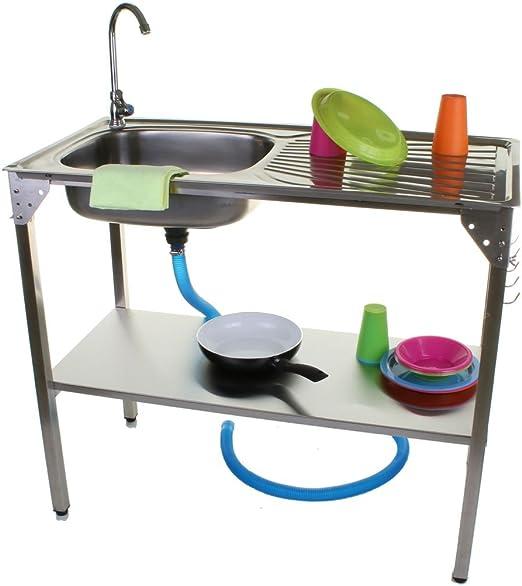 Unidad de Fregadero de Cocina camping al aire libre portátil plegable ideal para barbacoa pesca jardín: Amazon.es: Hogar