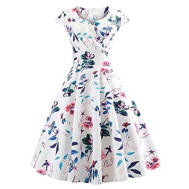 JESPER Women Vintage Rockabilly Sleeveless V Neck Evening Printing Party Prom Swing Dress