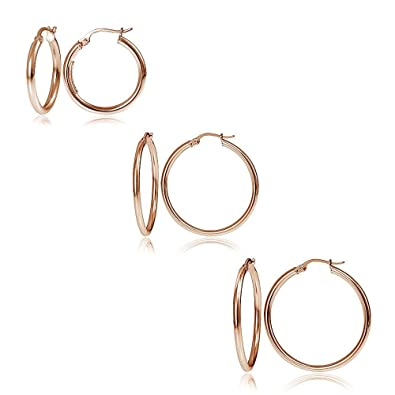4b0549cac Amazon.com: Hoops & Loops Set of 3 Flash Rose Gold Tone over Sterling Silver  2mm Polished Round Hoop Earrings, 20mm, 25mm 30mm: Jewelry